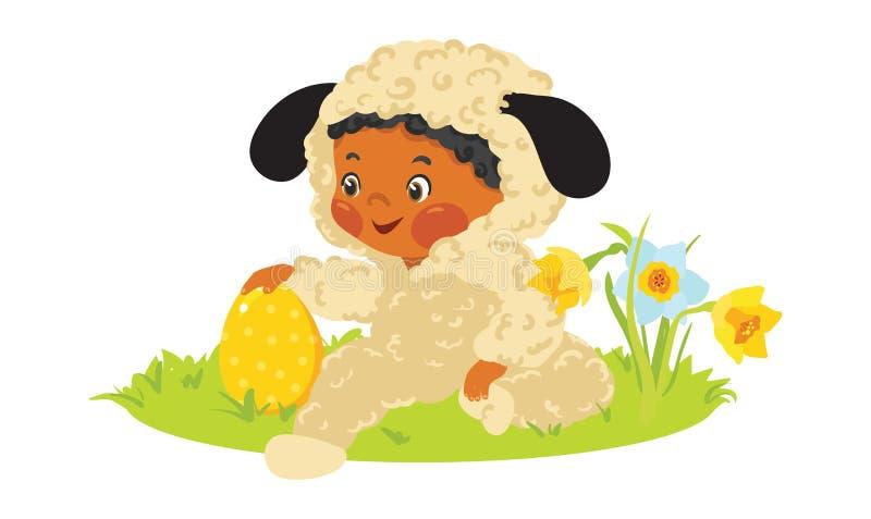 羊羔服装的男婴用装饰鸡蛋 向量例证