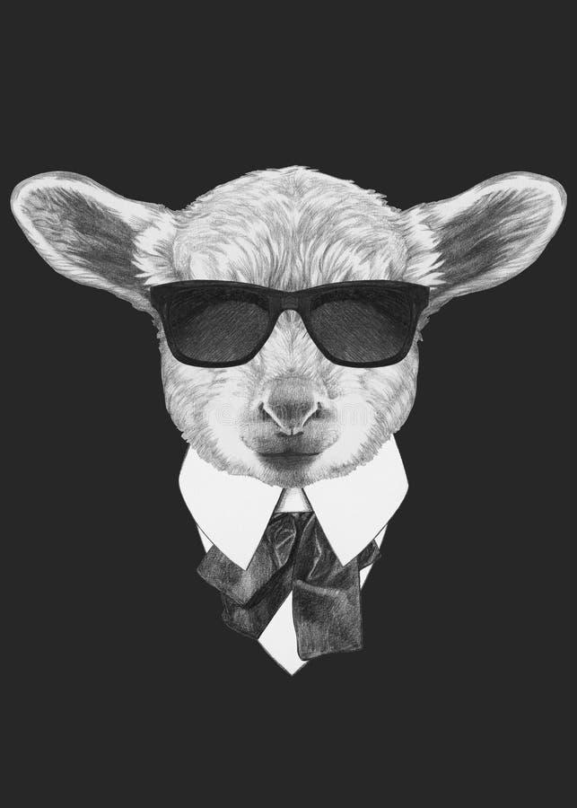 羊羔画象在衣服的 库存例证