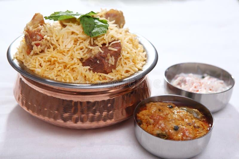羊肉biryani,印地安羊肉米盘 免版税库存图片