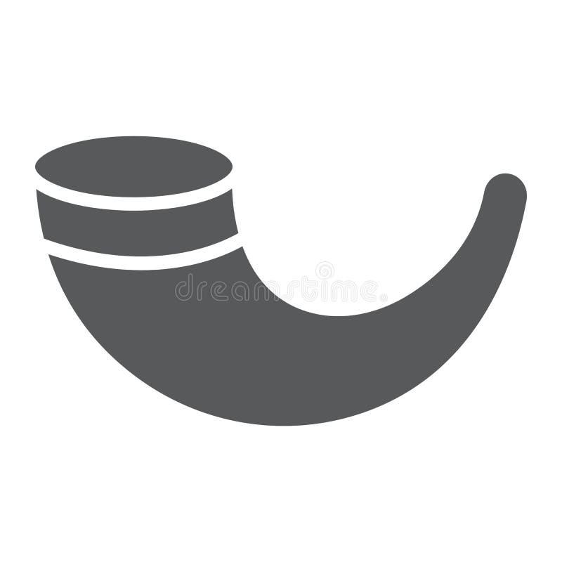 羊角号纵的沟纹象、宗教和以色列,犹太垫铁标志,向量图形,在白色背景的一个坚实样式 皇族释放例证