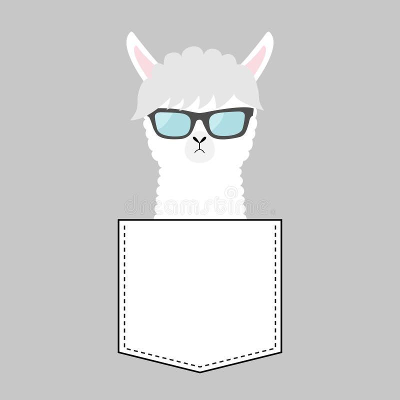 羊魄骆马在口袋的面孔头 查出的玻璃晒黑白色 逗人喜爱动物的动画片 Kawaii字符 破折号线 白色和黑颜色 T- 库存例证