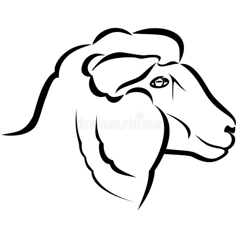 绵羊头 向量例证