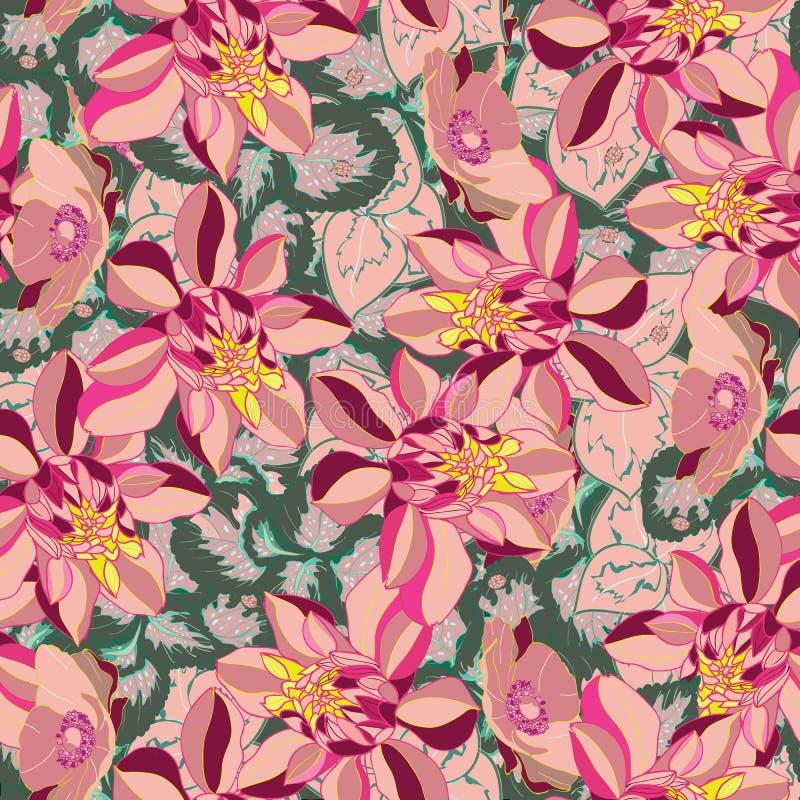 美丽和五颜六色的花无缝的样式传染媒介 皇族释放例证