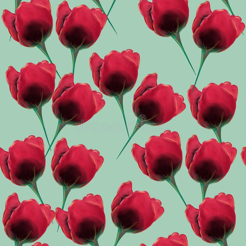 美丽和五颜六色的tulpan花无缝的样式 向量例证