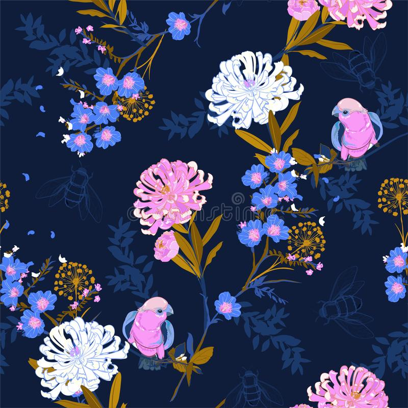 美丽和傻瓜日本人开花的花,分支,叶子 库存例证