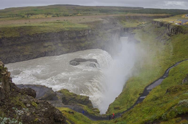美丽和著名古佛斯瀑布瀑布,金黄圈子路线 免版税库存图片
