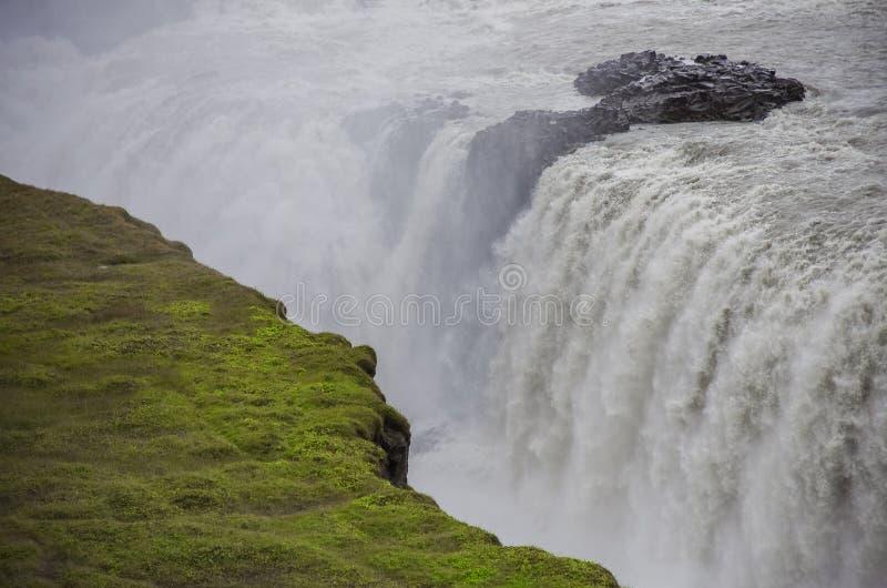 美丽和著名古佛斯瀑布瀑布,金黄圈子路线 图库摄影