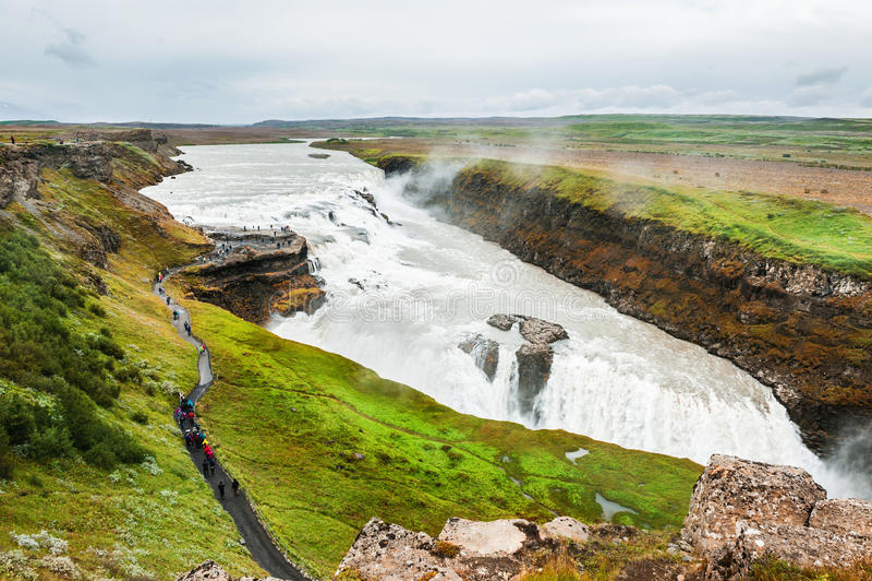 美丽和著名古佛斯瀑布瀑布 免版税库存照片