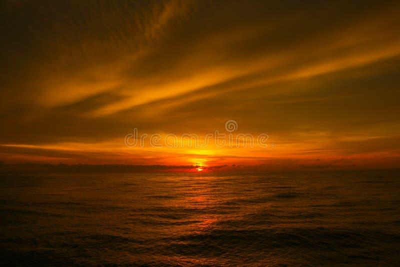 美丽在海运日落 免版税图库摄影