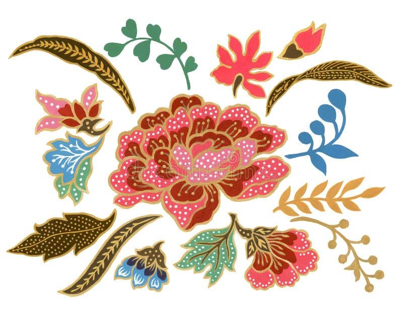美丽在白色背景的花艺术马来西亚和印度尼西亚蜡染布布裙元素水彩树胶水彩画颜料 向量例证