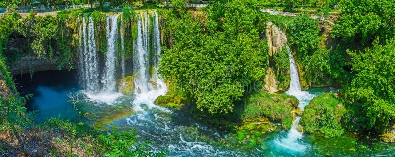 美丽如画的上部Duden瀑布,安塔利亚,土耳其 免版税库存图片