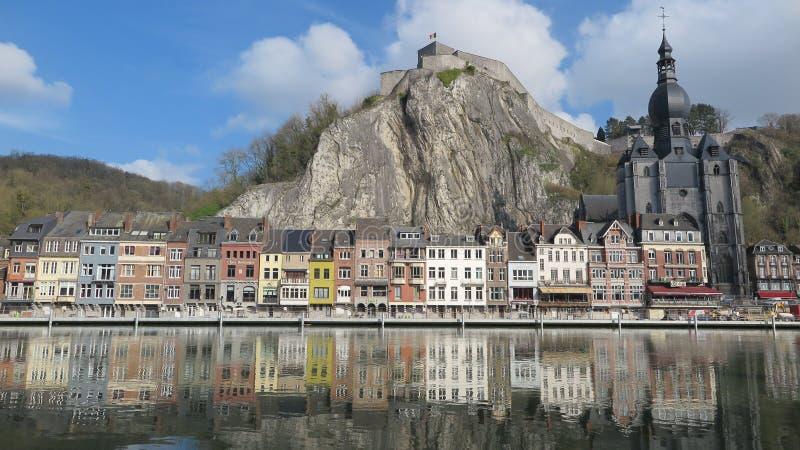 美丽如画的市迪南,比利时 库存图片