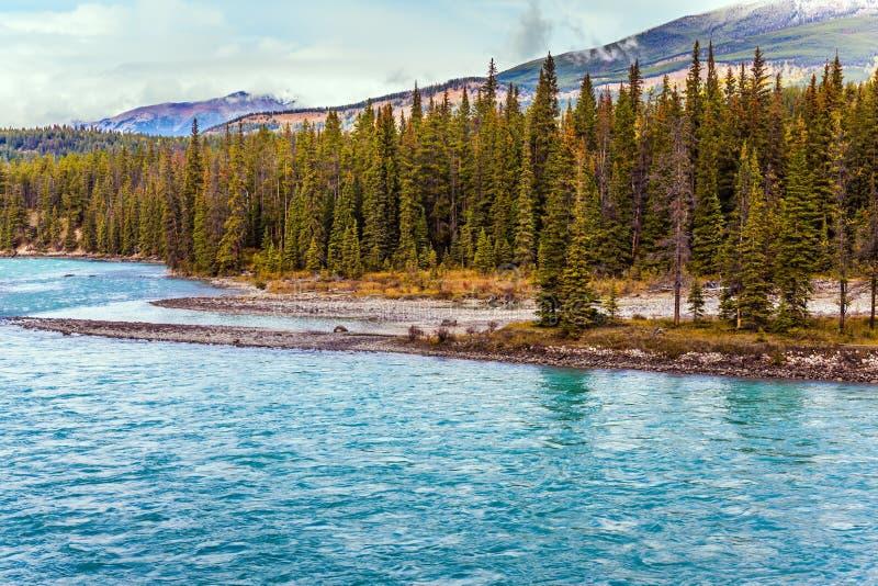 美丽如画的湖用天蓝色的水 免版税库存照片