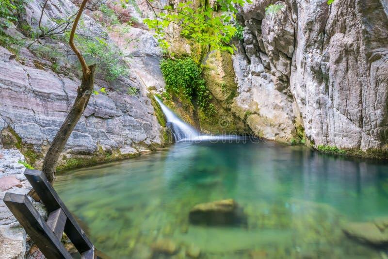 美丽如画的瀑布在一个舒适山盐水湖 库存照片