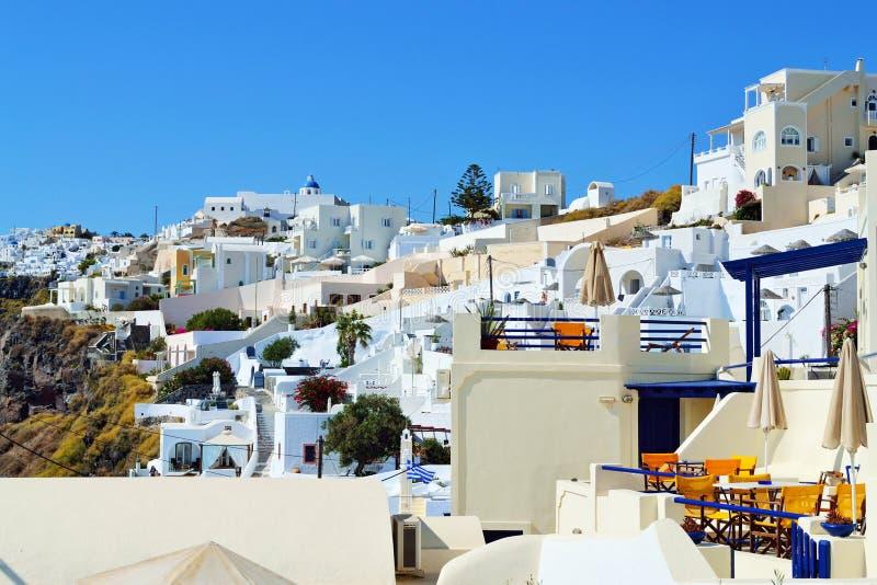 美丽如画的Fira圣托里尼海岛建筑学基克拉泽斯 库存图片