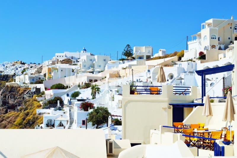 美丽如画的Fira圣托里尼海岛建筑学基克拉泽斯 库存照片
