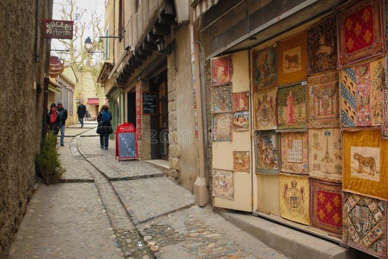 美丽如画的角落在城堡 卡尔卡松 法国 库存图片