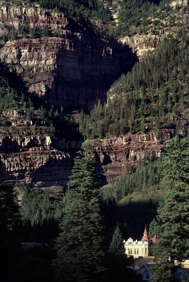 美丽如画的Ouray科罗拉多落矶山脉风景视图 库存照片