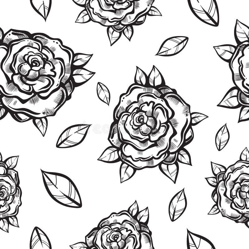 美丽的与哥特式玫瑰的葡萄酒无缝的样式在线性样式 黑白减速火箭的例证 捷克人,纹身花刺艺术 向量例证