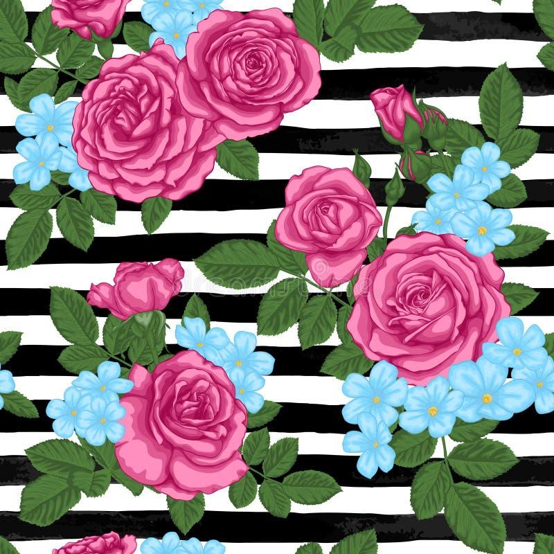 美丽的与玫瑰花蕾、叶子和词根的葡萄酒无缝的样式在黑白水彩条纹 向量例证