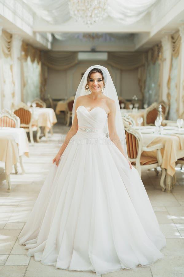 美丽的与羽毛的新娘佩带的时尚婚礼礼服与豪华欢欣构成和发型,室内演播室 免版税库存照片