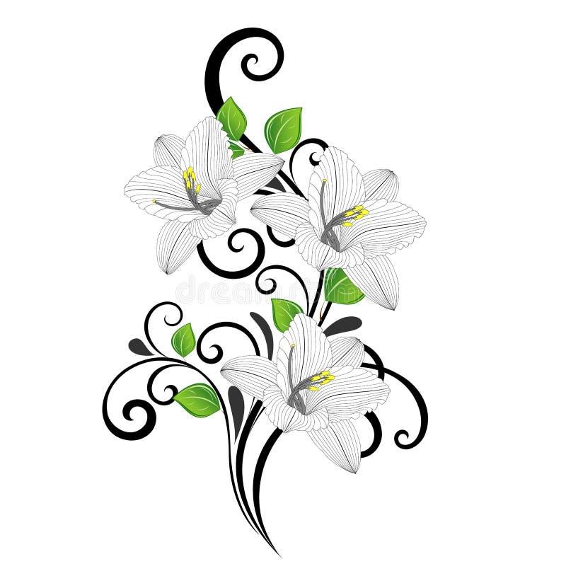 美丽的与绿色叶子和花百合的手图画花卉背景 图库摄影