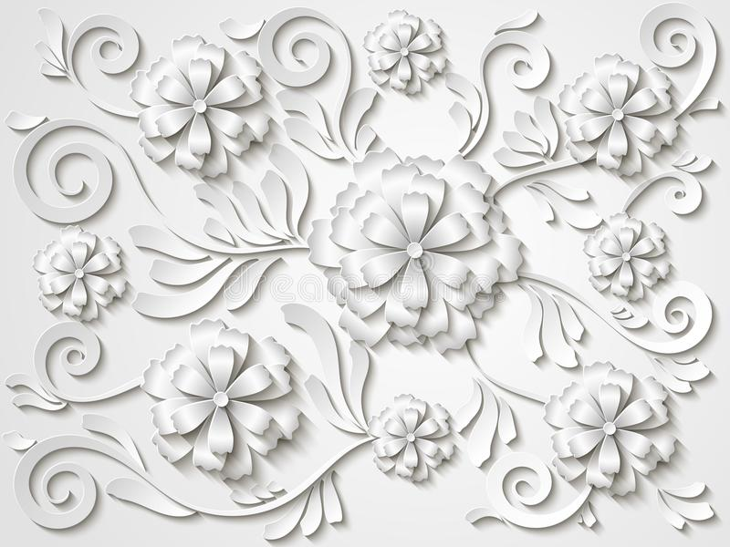 美丽的与3d花和叶子的葡萄酒白色花卉背景 向量例证