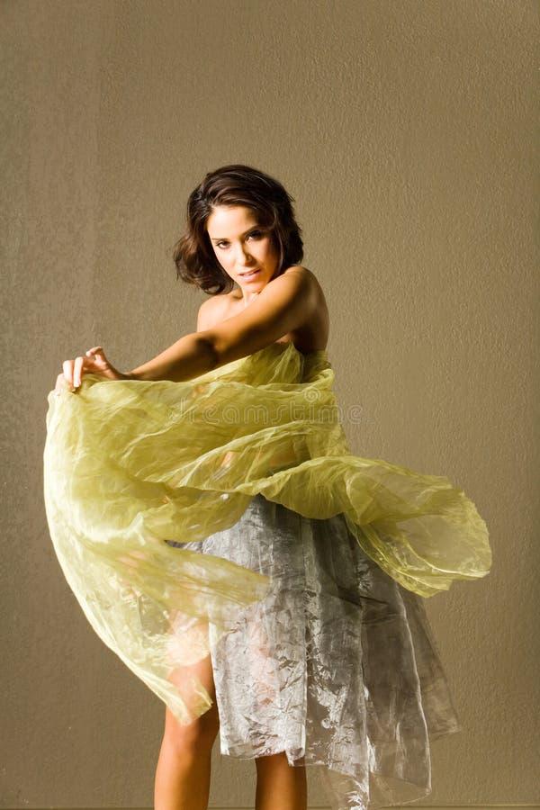 美丽的丝绸妇女 库存照片