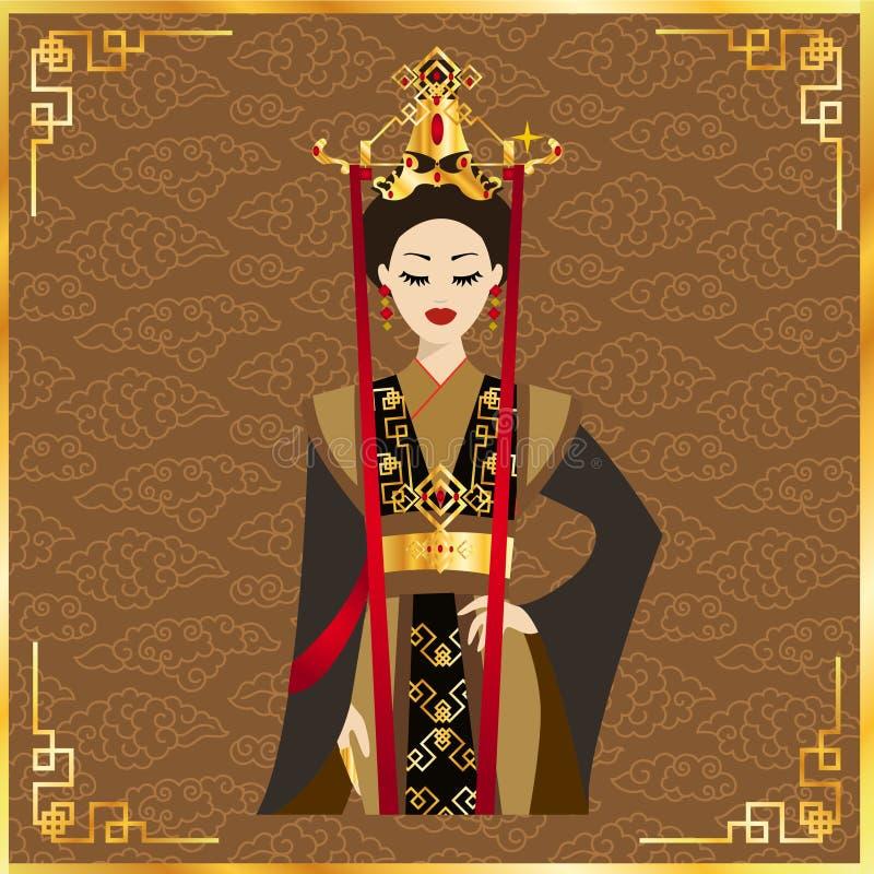 美丽的中国妇女在背景中 库存例证