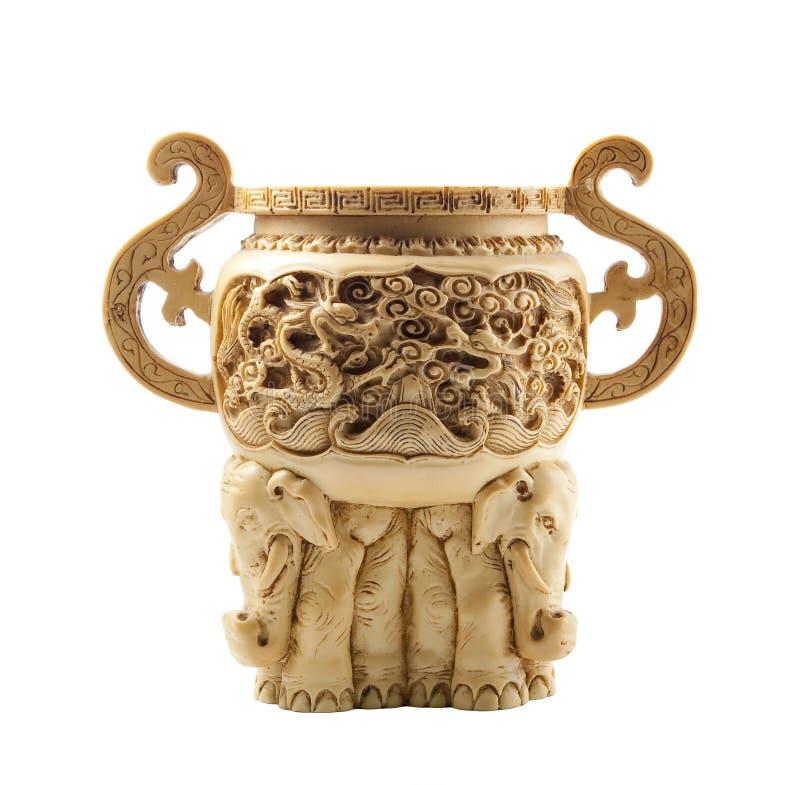 美丽的中国象牙做花瓶 免版税库存照片