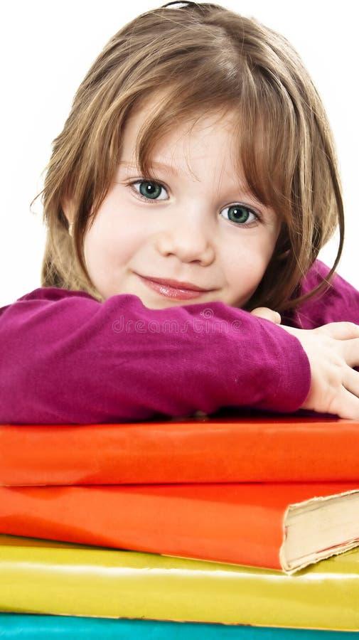 美丽的书女孩学校表 免版税库存照片