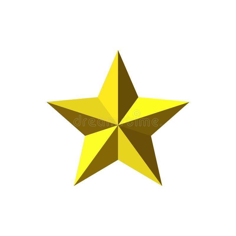 美丽的五针对性的雕琢平面的发光的金金属星 库存例证