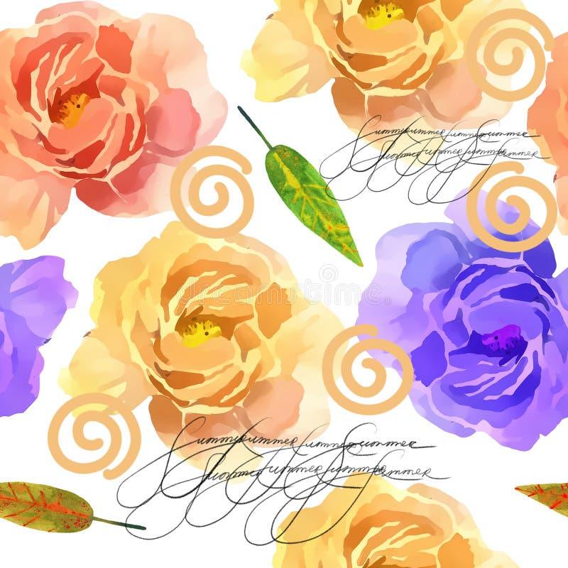 美丽的五颜六色的水彩罗斯花卉无缝的样式背景 与桃红色和黄色花的典雅的例证 库存例证