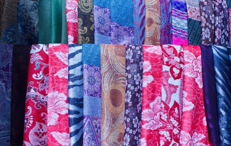 美丽的五颜六色的织品 库存照片