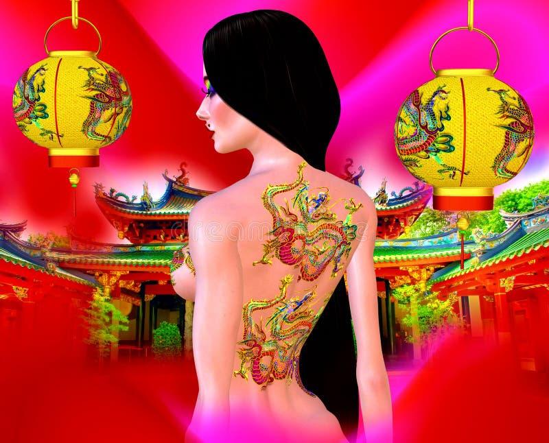 美丽的亚裔妇女、龙纹身花刺在她,五颜六色的构成和胸罩 库存照片
