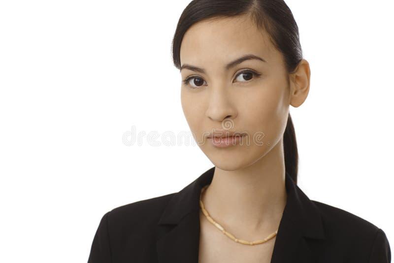 美丽的亚裔妇女特写镜头画象  库存图片