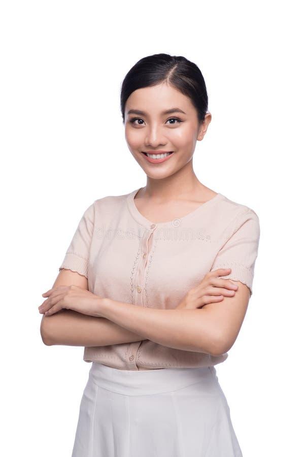 美丽的亚裔建筑师学生正面快乐创造性设计师微笑 库存图片