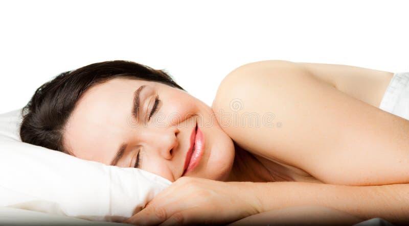 美丽的休眠的妇女 库存图片