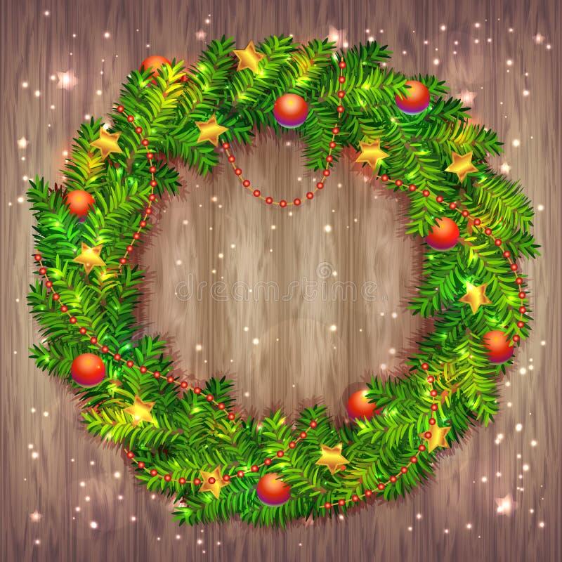 美丽的传染媒介圣诞节花圈由与红色球和小珠的绿色杉树分支,金黄有叶形装饰的星和发光的闪闪发光做成 库存例证