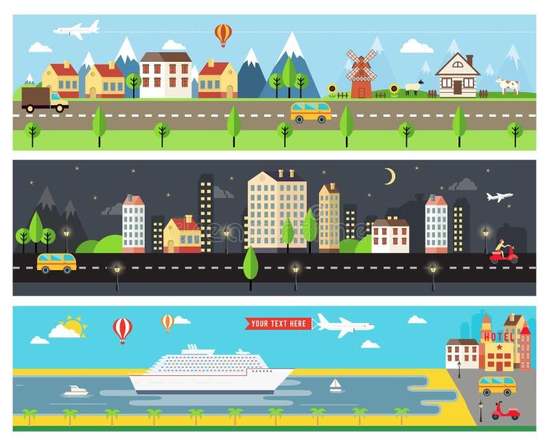 美丽的传染媒介城市风景横幅 库存例证