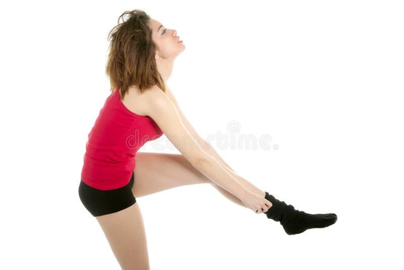 美丽的使用的红色性感的袜子妇女 库存照片