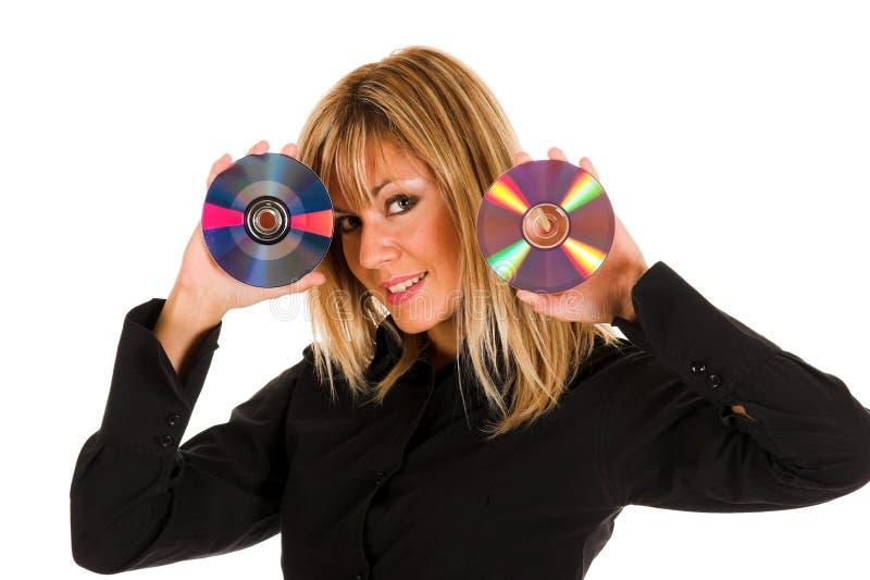 美丽的光盘藏品妇女年轻人 免版税库存照片