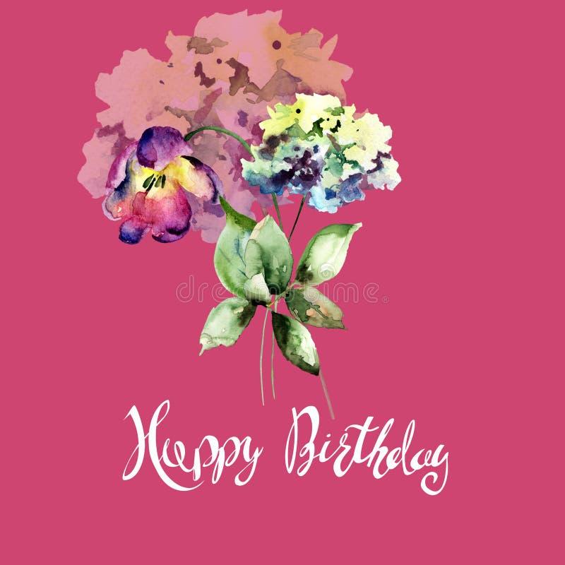 美丽的八仙花属和郁金香花与标题生日快乐 库存例证