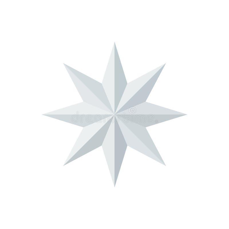 美丽的八针对性的雕琢平面的发光的白皮书星 库存例证