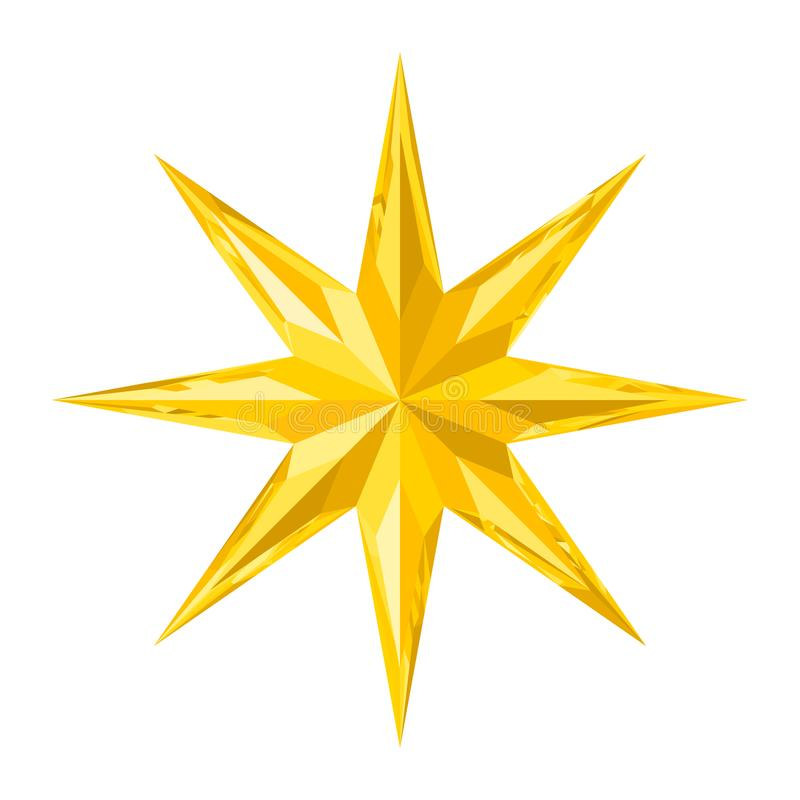 美丽的八针对性的雕琢平面的发光的金水晶星 向量例证
