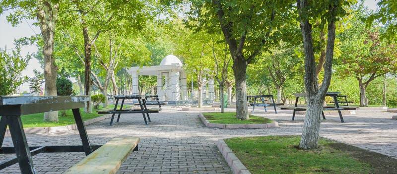 美丽的公开武都喷泉在土耳其公园 免版税库存照片
