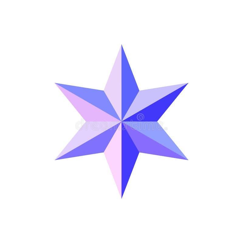 美丽的六针对性的雕琢平面的发光的桃红色蓝星 皇族释放例证