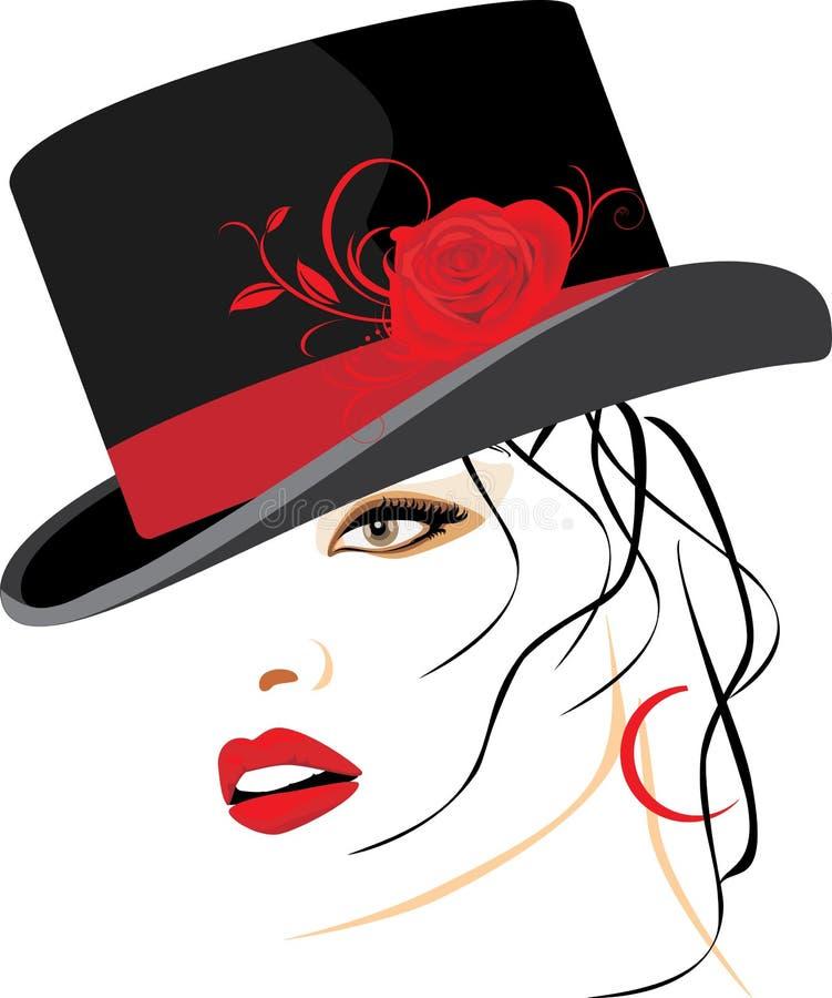 美丽的典雅的帽子纵向妇女 库存例证