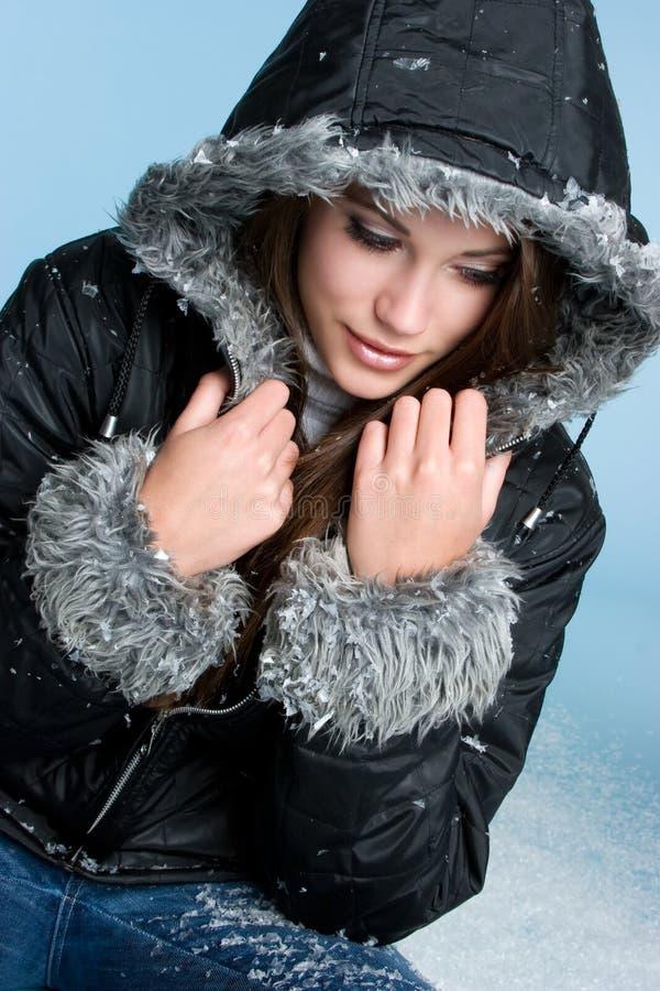 美丽的冬天妇女 免版税库存图片
