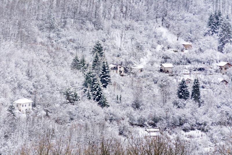 美丽的冬天山的议院 免版税库存图片